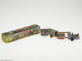 Memorabilia:Miscellaneous, Mechanical Disney Express Train Toy with Box (Louis Marx & Co., undated). Tough to find late 1950s or very early 1960s tin l...