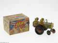 """Memorabilia:Miscellaneous, Jumpin' Jeep Toy with Box (Marx, 1947). This green and gold tin wind-up combat Jumpin' Jeep measures 6"""" long, and 4.5"""" tall,..."""