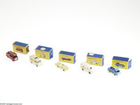 Matchbox Car Group with Boxes (Lesney, undated). A group of 5 early Matchbox Series vehicles, including No.9 Fire Truck...