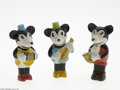 "Memorabilia:Miscellaneous, Mickey Mouse Bisque Musician Set in Box (Walt Disney, circa 1930). This three bisque set was manufactured in Japan. The 3.5""..."