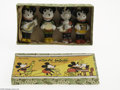 Memorabilia:Miscellaneous, Mickey Mouse Band Bisque Figurine Set with Box (Walt Disney, 1930s). A set of four bisque Mickey Mouse Band figures. The fou...