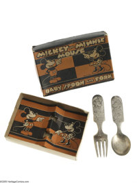 Mickey and Minnie Mouse Baby Spoon and Fork in Box (Fairfield Silverplate, circa 1930s). This silverplate baby spoon and...