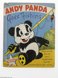 "Andy Panda Goes Fishing (Rand McNally, 1940) Condition: GD/VG. Measures 5.5"" x 6.75"". Black and green illustra..."