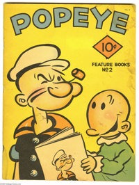 Feature Books #2 Popeye (David McKay, 1937) Condition: Very Fine. One of the nicest Popeye covers in comics, featuring P...