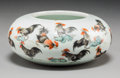 Asian:Chinese, A Chinese Enameled Porcelain Brush Washer with Rooster Motif, lateQing Dynasty-early Republic Period. Marks: Six-character ...