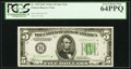 Fr. 1957-B* $5 1934A Federal Reserve Note. PCGS Very Choice New 64PPQ