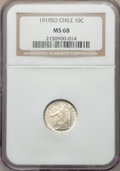 Chile, Chile: Republic 10 Centavos 1919-SO MS68 NGC,...
