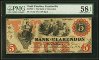 Fayetteville, NC- Bank of Clarendon at Fayetteville $5 Aug. 1, 1861 G2b Pennell 450A