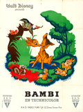 Movie Posters:Animation, Bambi (RKO, 1948). Folded, Very Fine-. First Post-...