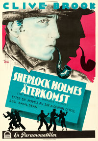 "The Return of Sherlock Holmes (Paramount, 1930). Swedish One Sheet (27.75"" X 39.5"") Gosta Aberg Artwork"