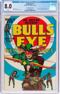 Bulls-Eye #1 Mile High Pedigree (Mainline Publications, 1954) CGC VF 8.0 White pages
