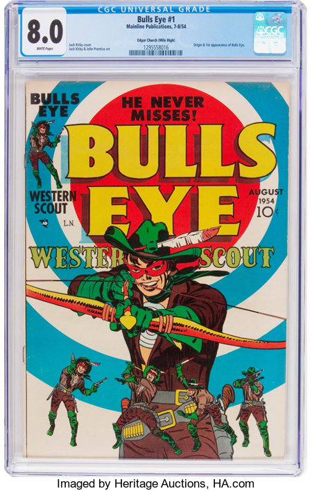 Bulls-Eye #1 Mile High Pedigree (Mainline Publications, 1954) CGC VF 8.0 White pages....