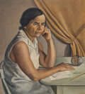 Paintings, Nathalie Newking (American, 1904-1954). Woman at a Desk. Oil on canvas. 32 x 28 inches (81.3 x 71.1 cm). Signed center r...