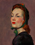 Fine Art - Painting, American, Kyohei Inukai (American, 1913-1985). The Green Bonnet. Oilon canvas. 20 x 16 inches (50.8 x 40.6 cm). Signed on the str...