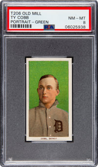 1909-11 T206 Old Mill Ty Cobb (Green Portrait) PSA NM-MT 8 - Pop Eight, None Higher