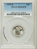 Mercury Dimes: , 1935-D 10C MS64 Full Bands PCGS. PCGS Population: (235/433). NGC Census: (56/106). CDN: $150 Whsle. Bid for problem-free NG...