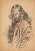 Works on Paper, Wanda Gág (American, 1893-1946). Portrait of Girl, 1916. Charcoal and crayon on paper. 11-7/8 x 9 inches (30.2 x 22.9 cm...