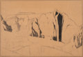 Works on Paper, Conrad Buff (American, 1886-1975). Mesa Cliffs. Pencil and charcoal on brown paper. 12 x 17-3/4 inches (30.5 x 45.1 cm) ...