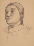 Fine Art - Work on Paper, Jean Charlot (French, 1898-1979). Head of a Woman (Dona LuzJimenez), 1924. Charcoal on paper. 15-1/4 x 11 inches (38.7 ...