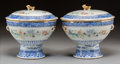 Asian:Chinese, A Pair of Chinese Porcelain Warming Dishes with Prose Inscription, Republic Period, circa 1912-1949. 6-3/4 x 6-3/4 inches (1... (Total: 2 Items)