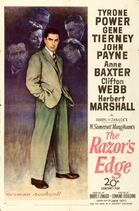 "The Razor's Edge (20th Century Fox, 1946). One Sheet (27"" X 41"") Style B, Norman Rockwell Artwork"