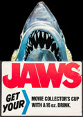 "Movie Posters:Horror, Jaws (7-Eleven Incorporated, 1975). Promotional Display (11"" X 15.5"") DS, & Special Edition Vinyl Cup (16 oz.) Roger Kastel ... (Total: 2 Items)"