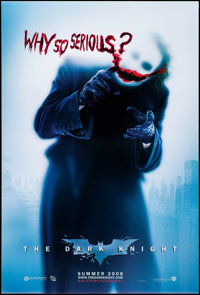 "The Dark Knight (Warner Brothers, 2008). One Sheet (27"" X 40"") DS Advance, ""Why So Serious"" Style A..."