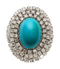 Estate Jewelry:Rings, Turquoise, Diamond, White Gold Ring The ring f...