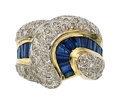 Estate Jewelry:Rings, Diamond, Sapphire, Gold Ring  The ring feature...