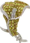 Estate Jewelry:Brooches - Pins, Diamond, Peridot, Platinum, Gold Brooch. Claire