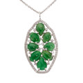 Estate Jewelry:Pendants and Lockets, Jadeite Jade, Diamond, White Gold Pendant-Necklace, Carol ...