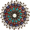 Estate Jewelry:Brooches - Pins, Victorian Diamond, Cultured Pearl, Plique-à-Jour Enamel, Gold, Silver Brooch. ...