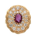 Estate Jewelry:Rings, Ruby, Diamond, Gold Ring  The ring features an...