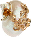 Estate Jewelry:Brooches - Pins, Shell, Citrine, Peridot, Gold Brooch, Seaman Schepps