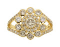 Estate Jewelry:Rings, Colored Diamond, Gold Ring  The ring centers a...