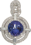 Estate Jewelry:Pendants and Lockets, Tanzanite, Diamond, White Gold Pendant. ...