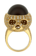 Estate Jewelry:Rings, Cat's-Eye Smoky Quartz, Diamond, Gold Ring The...