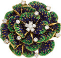 Estate Jewelry:Brooches - Pins, Diamond, Enamel, Gold Brooch, Peter Lindeman  ...