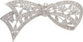 Estate Jewelry:Brooches - Pins, Diamond, White Gold Brooch The bow brooch feat...