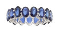 Estate Jewelry:Rings, Sapphire, White Gold Eternity Band. ...