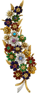 Estate Jewelry:Brooches - Pins, Diamond, Multi-Stone, Enamel, Gold Brooch The ...