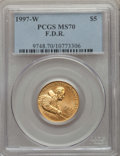 Modern Issues, 1997-W $5 Franklin D. Roosevelt Gold Five Dollar MS70 PCGS. PCGS Population: (241). NGC Census: (483)....
