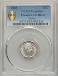 Coins of Hawaii , 1883 10C Hawaii Ten Cents -- Cleaning -- PCGS Genuine Secure. AU Details. NGC Census: (24/243 and 0/1+). PCGS Population: (...