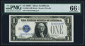 Small Size:Silver Certificates, Fr. 1603 $1 1928C Silver Certificate. PMG Gem Uncirculated 66 EPQ.. ...