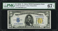 Small Size:World War II Emergency Notes, Fr. 2307 $5 1934A North Africa Silver Certificate. PMG Superb Gem Unc 67 EPQ.. ...