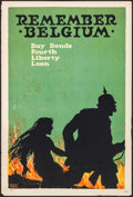 "Movie Posters:War, World War I Propaganda (U.S. Printing and Litho Co., 1918). LibertyBond Poster (20"" X 30"") ""Remember Belgium,"" Ellsworth Yo..."