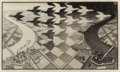 Prints & Multiples, M. C. Escher (1898-1972). Day and Night, 1935. Woodcut on thin laid Japon paper. 15-1/2 x 26-5/8 inches (39.4 x 67.6 cm)...