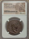 Ancients:Roman Imperial, Ancients: Hadrian (AD 117-138). AE sestertius (26.32 gm). NGC AU 5/5 - 2/5, Fine Style, smoothing. ...