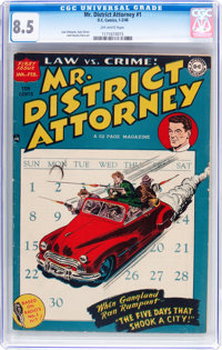 Mr. District Attorney #1 (DC, 1948) CGC VF+ 8.5 Off-white pages