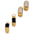 Estate Jewelry:Earrings, Diamond, Black Jade, Gold Earrings . ... (Total: 2 Pieces)